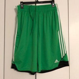 Adidas men's Large gym shorts green w/ white trim